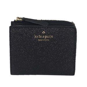 NIB Kate Spade Joeley Glitter Black Bifold Wallet